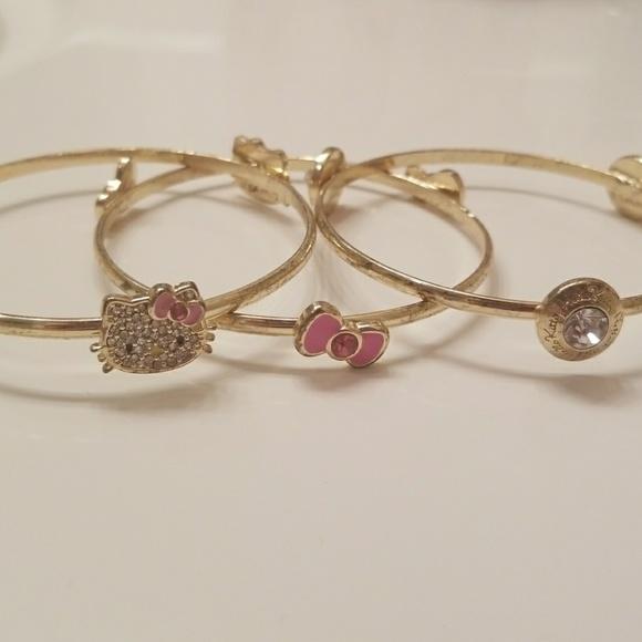 9731c2419 Sanrio Jewelry | Set Of 3 Gold Tone Hello Kitty Bangles | Poshmark